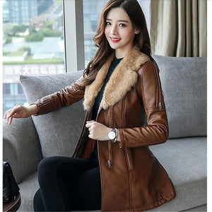 Tiff - Medium Style Fur Collar Leather Coat coat BQ Emporium