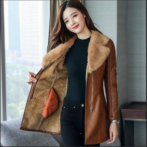 Tiff - Medium Style Fur Collar Leather Coat