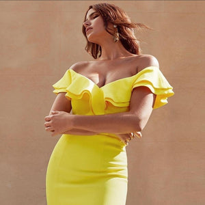 Verano - Sexy Off Shoulder Bandage Dress dress BQ Emporium Yellow L