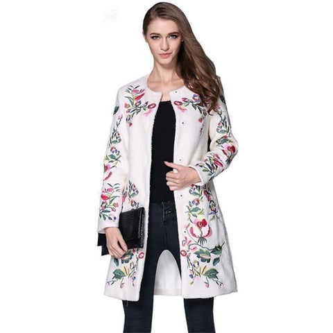 Image of Vintage-Embroidered Long Coat Coats and Jackets BQ Emporium