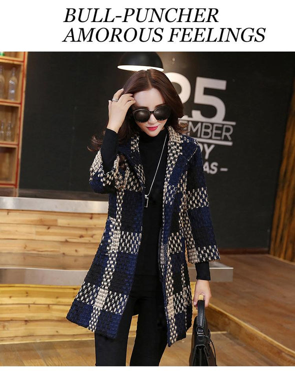 Weave Plaid Elegant Contexture Winter Coat trench plaid BQ Emporium