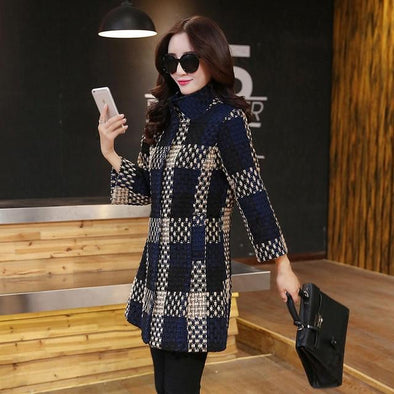 Weave Plaid Elegant Contexture Winter Coat trench plaid BQ Emporium Picture Color L