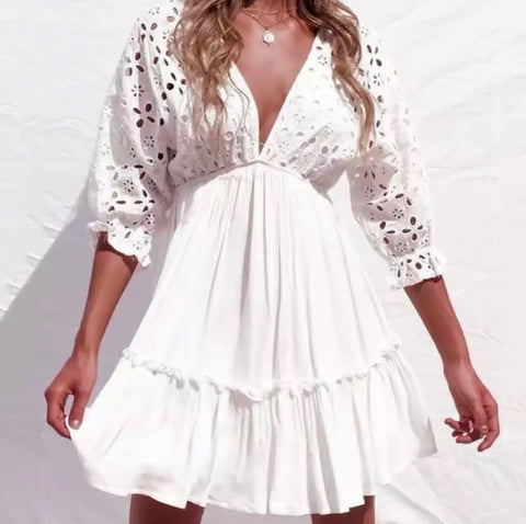 Image of White Delight Beach Dress dress BQ Emporium
