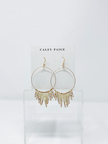 Ivory\Gold Bead Fringe Earrings