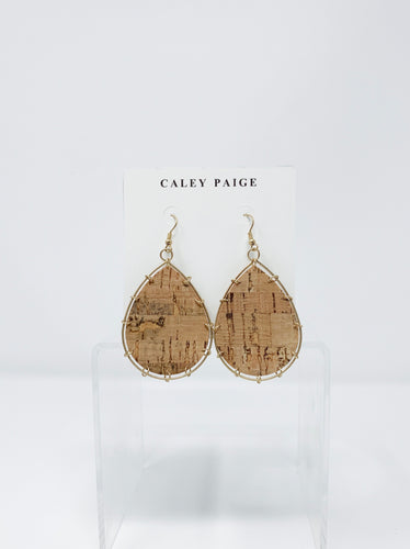 Natural Cork Teardrop Earrings