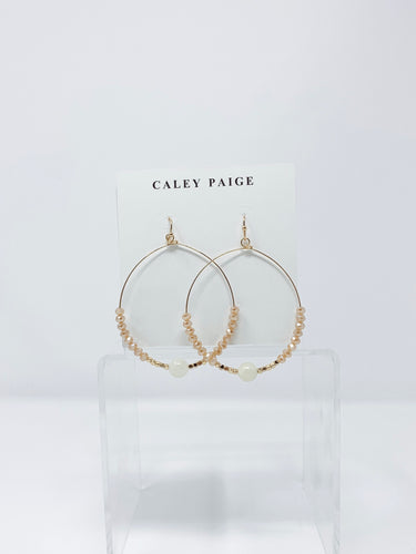 Champagne Ball and Beads Circle Earrings