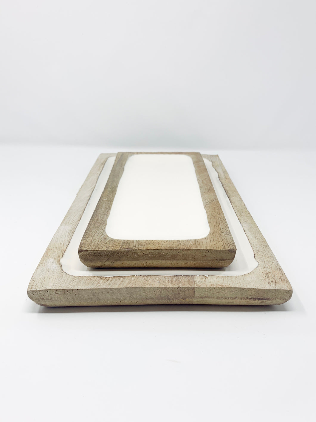Mango Wood White Tray (2 sizes)