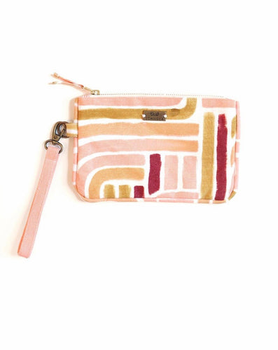 SUNSET STRIPE ZIPPER CLUTCH
