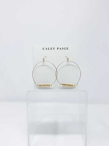 Tube Charm Circle Earrings