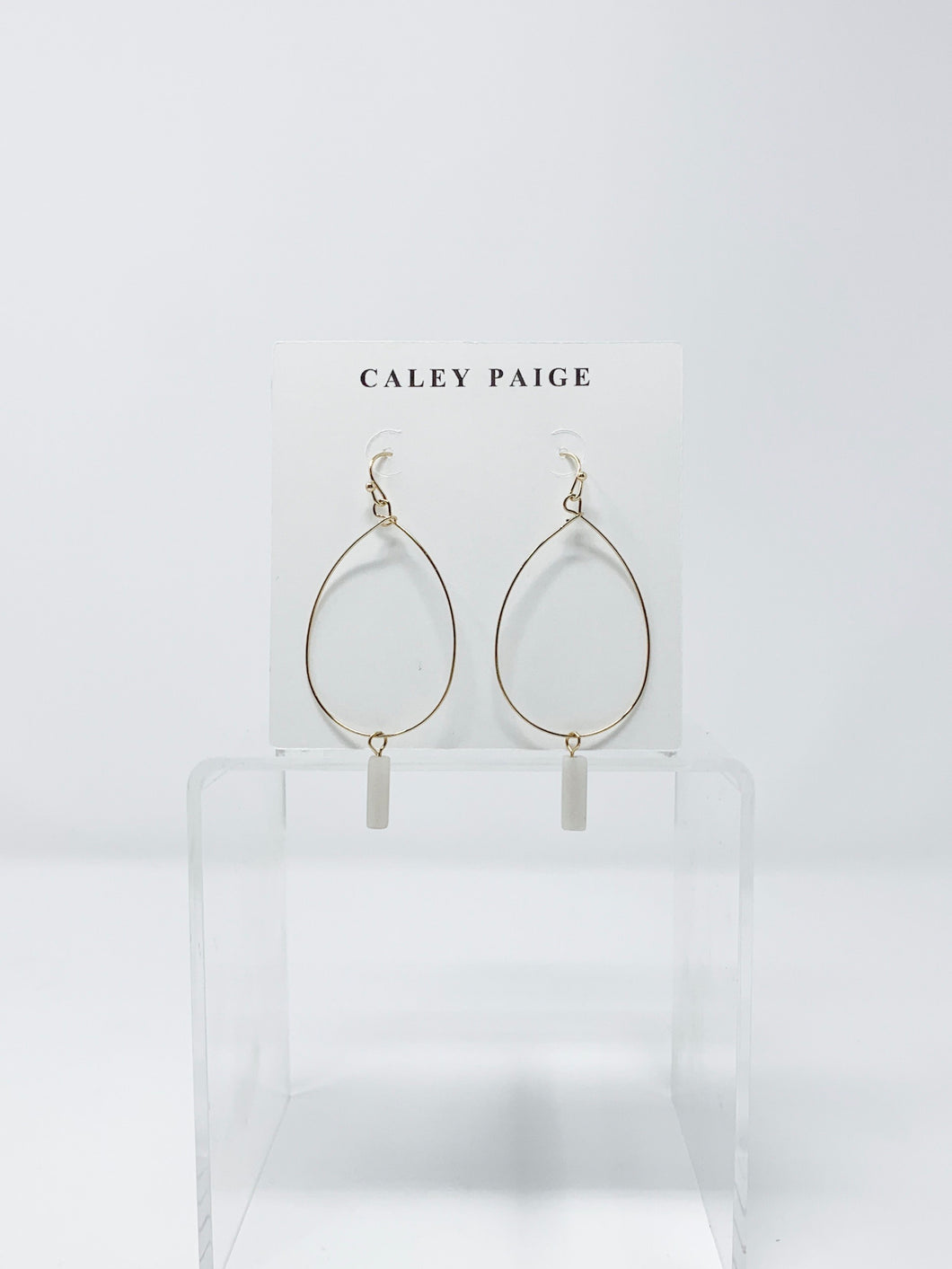 White Stone and T-drop Earrings