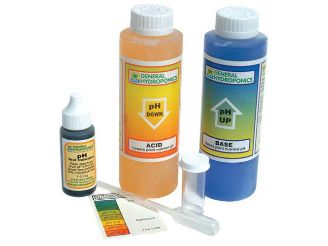 General Hydroponics pH Test & Adjustment Kit pH-Up pH-Down Set 28204