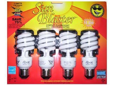 SunBlaster Compact Fluorescent Lamp / Light Bulb 13Watt 4/pack