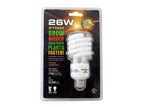 SunBlaster Compact Fluorescent Plant Grow Lighting - Bulb 26Watt 6400K (Vegetative / Grow)
