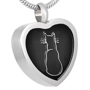 Cat Heart Pendant with Chain - Cremation Urn Stainless Steel
