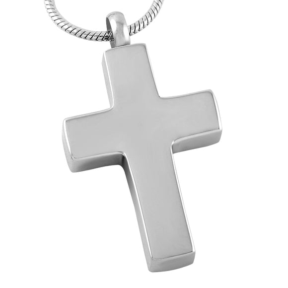 Cross Pendant with Chain - Cremation Urn Stainless Steel
