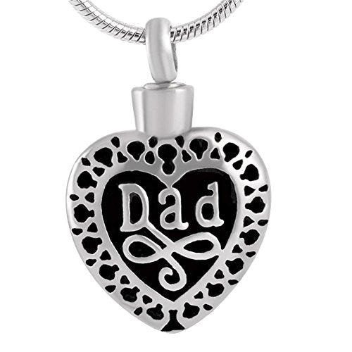 Dad Heart Pendant with Chain - Cremation Urn Stainless Steel