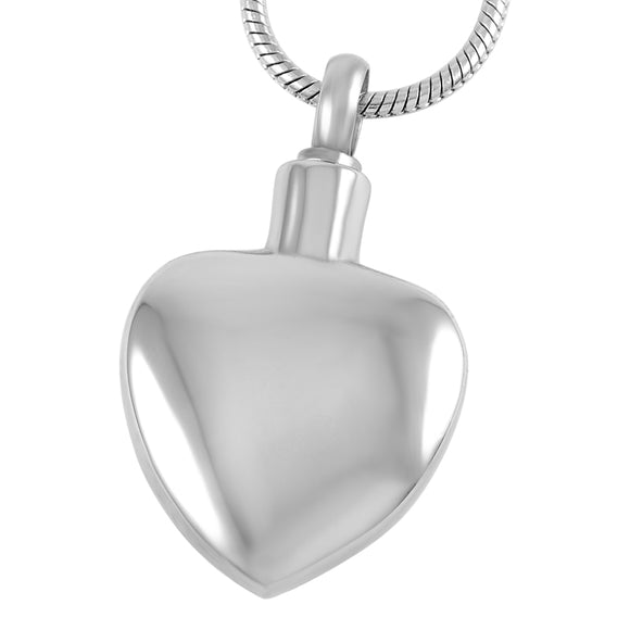 Heart Pendant with Chain - Cremation Urn Stainless Steel