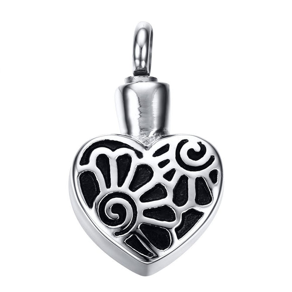 Heart with Flowers Pendant with Chain - Cremation Urn Stainless Steel