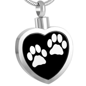 Heart with 2 White Paw Prints Pendant with Chain - Cremation Urn Stainless Steel