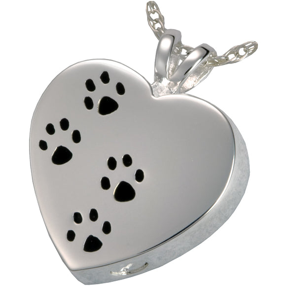 Heart with Paw Prints Pendant with Chain - Cremation Urn Stainless Steel