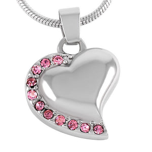 Heart with Pink Stones Pendant with Chain - Cremation Urn Stainless Steel
