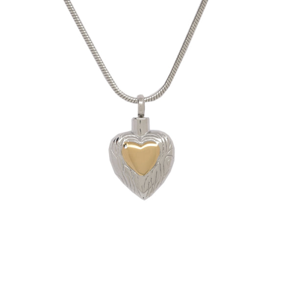 Heart with Small Golden Heart Pendant with Chain - Cremation Urn Stainless Steel