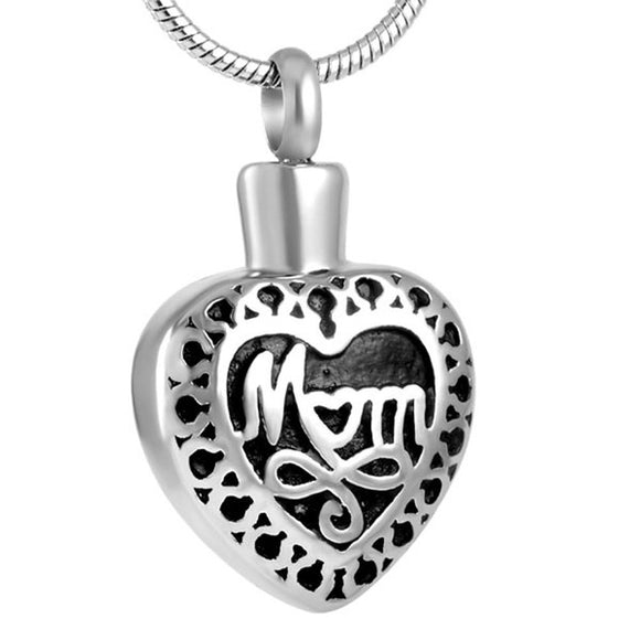 Mom Heart Pendant with Chain - Cremation Urn Stainless Steel