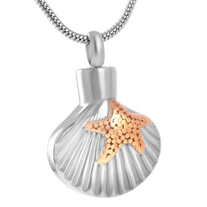 Scallop Shell with Starfish Pendant with Chain - Cremation Urn Stainless Steel