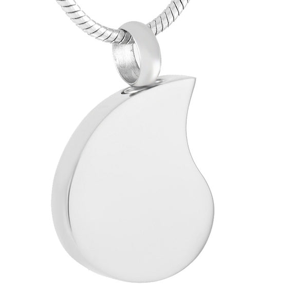 Teardrop Pendant with Chain - Cremation Urn Stainless Steel