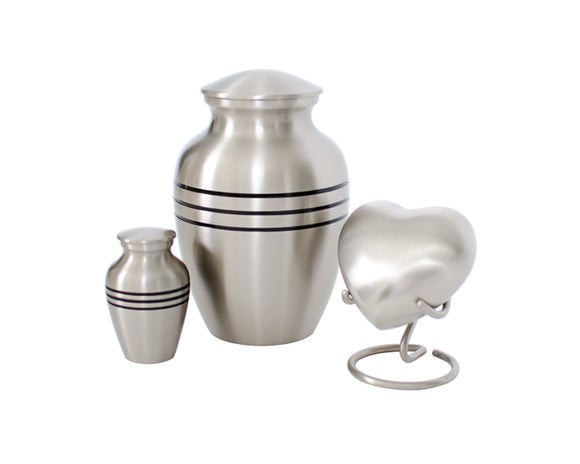 Brushed Nickel Urn Complete Set