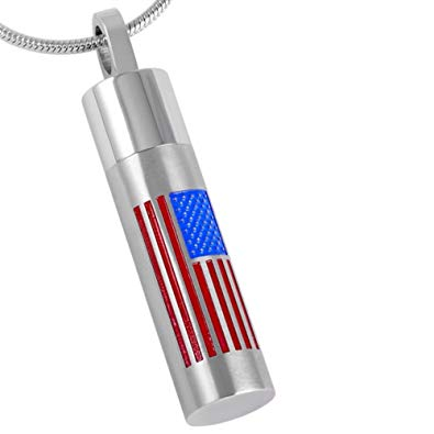 USA Flag Pendant with Chain - Cremation Urn Stainless Steel