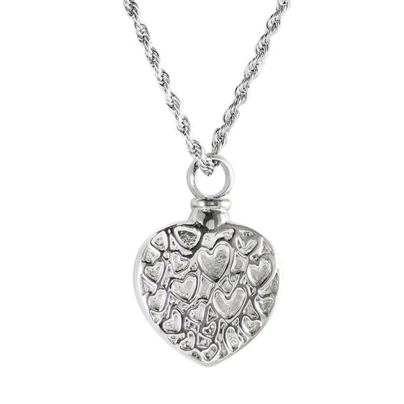 Heart with Little Hearts Pendant with Chain - Cremation Urn Stainless Steel