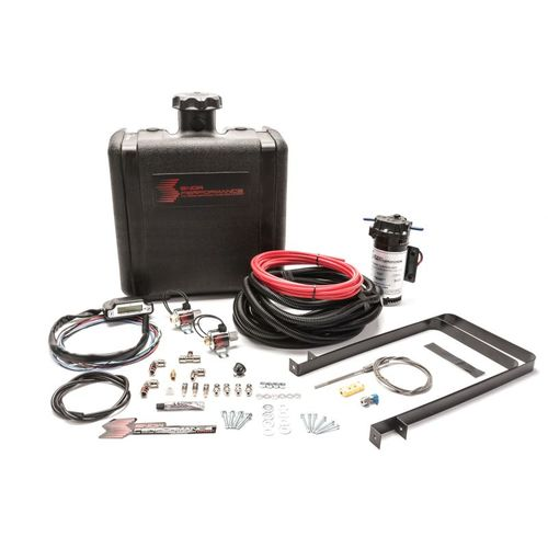 Snow Performance Diesel Stage 3 Boost Cooler Water-Methanol Injection Kit RV Pusher (Red High Temp Nylon Tubing, Quick-Connect Fittings)