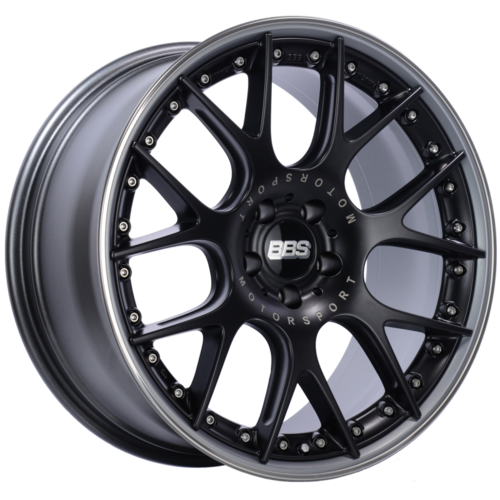 BBS CH-RII 654 20x9.5 5x112 ET25 Satin Black Center Platinum Lip SS Rim Prot Wheel -82mm PFS/Clip Req