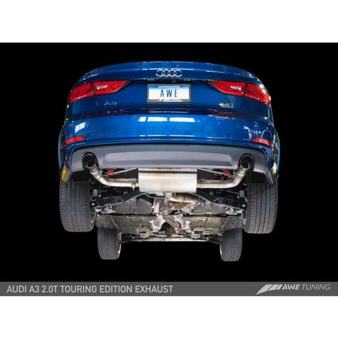 AWE Tuning Audi 8V A3 Touring Edition Exhaust - Dual Outlet Diamond Black 90 mm Tips
