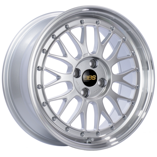 BBS LM 198 17x7.5 4x100 ET40 Diamond Silver Center Diamond Cut Lip Wheel -70mm PFS/Clip Required