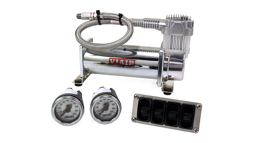 Air Lift 4-Way Manual Control System 100% Duty 1/4in Line 4 Gal. Tank.