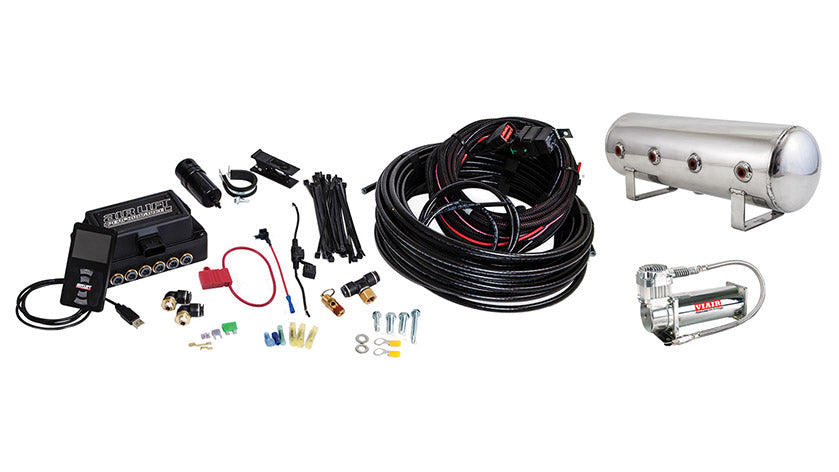 Air Lift Performance 3P (1/4″ AIR LINE, 2.5 GALLON POLISHED TANK, VIAIR 444C COMPRESSOR)