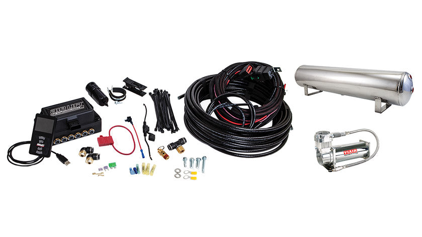 Air Lift Performance 3P (1/4″ AIR LINE, 4 GALLON 5-PORT POLISHED TANK, VIAIR 444C COMPRESSOR)