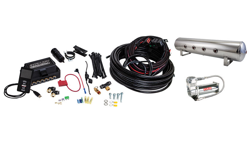 Air Lift Performance 3P (1/4″ AIR LINE, 4 GALLON 7-PORT POLISHED TANK, VIAIR 444C COMPRESSOR)