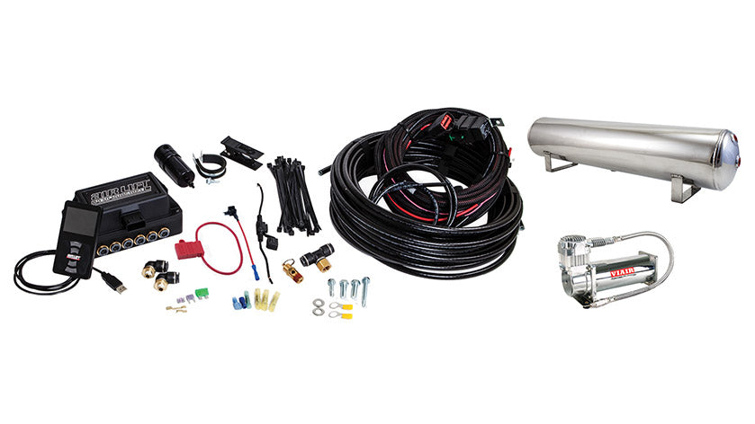 Air Lift Performance 3P (3/8″ AIR LINE, 4 GALLON 5-PORT POLISHED TANK, VIAIR 444C COMPRESSOR)