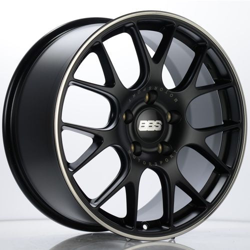 BBS CH-R 108 19x8.5 5x130 ET51 CB71.6 Satin Black Polished Rim Protector Wheel w/ Motorsport Etching
