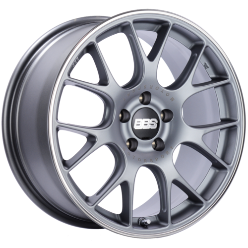 BBS CH-R 146 18x8.5 5x112 ET38 Satin Titanium Polished Rim Protector Wheel -82mm PFS/Clip Required