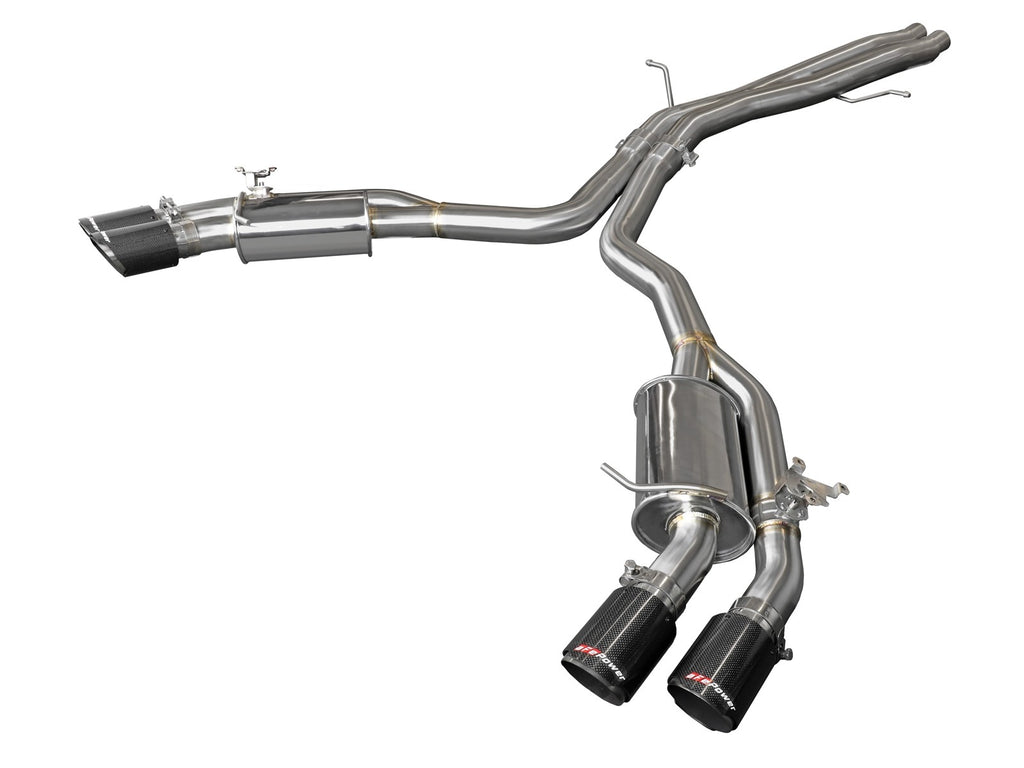 aFe Audi RS5 Coupe MACH Force-Xp 3in to 2.5in 304 SS Axle-Back Exhaust System-Quad Carbon Tips