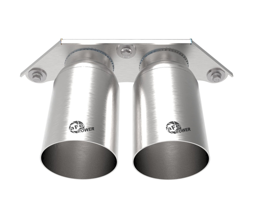 aFe Power Mach Force Xp 4in 304 SS Bolt-On Exhaust Tips Brushed 14-19 Porsche 911 GT3 (991.1/991.2) 3.8L/4.0L