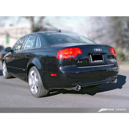AWE Tuning Audi B7 A4 3.2L Track Edition Dual Tip Exhaust - Polished Silver Tips