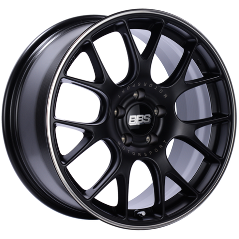 BBS CH-R 18x8.5 5x112 ET47 Satin Black Polished Rim Protector Wheel -82mm PFS/Clip Required