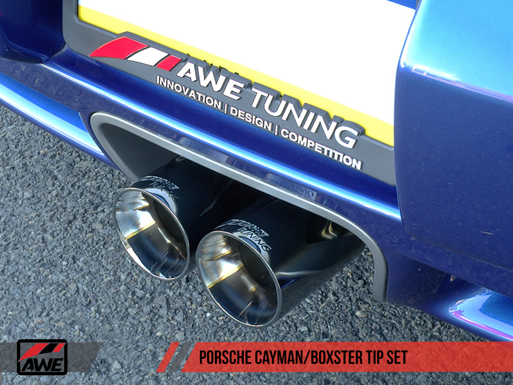 AWE Tuning Optional Porsche 987 Cayman/S Boxster/S Muffler Tip Set - Polished Silver