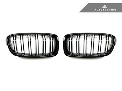 AutoTecknic Replacement Dual-Slats Glazing Black Front Grilles - F30 3-Series