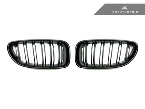 AutoTecknic Replacement Dual-Slats Stealth Black Front Grilles - F06 Gran Coupe / F12 Coupe / F13 Cabrio | 6 Series & M6